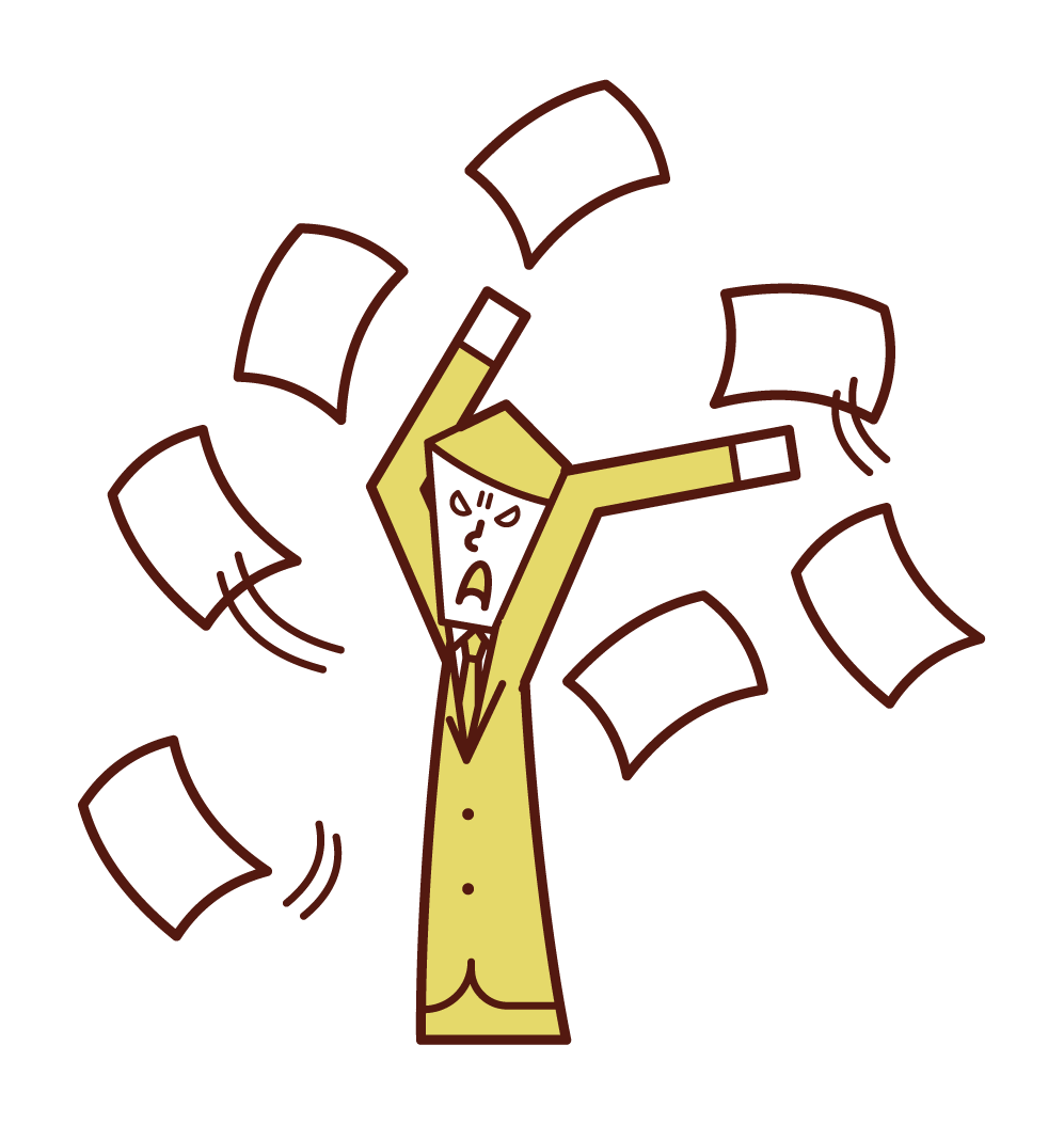 Illustration of a person throwing out a job or scattering documents (man)