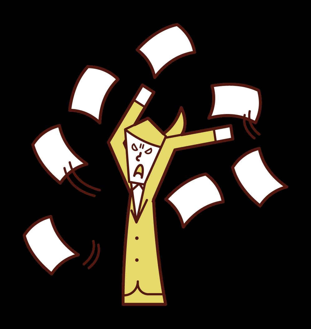 仕事投げ出す人・書類を撒き散らす人(女性)のイラスト