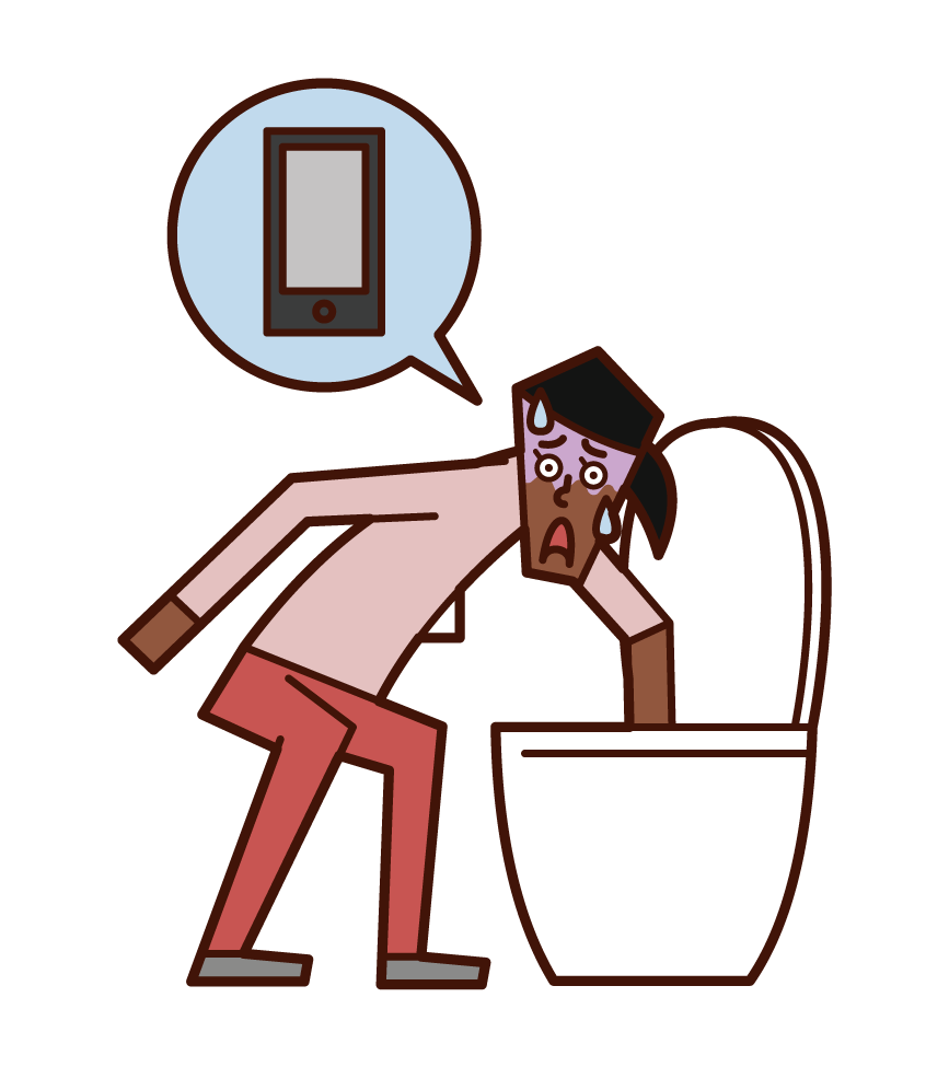 스마트폰을 화장실에 떨어이던 사람(여성)의 일러스트