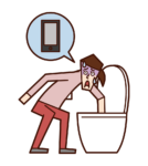 Illustration of a woman who dropped her smartphone in the toilet