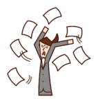 Illustration of a person throwing out a job or scattering documents (woman)