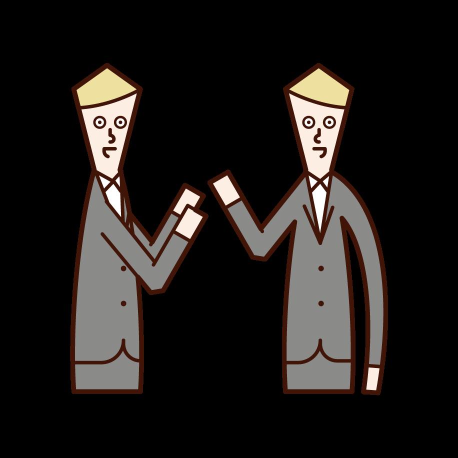 對話者(男性)的插圖