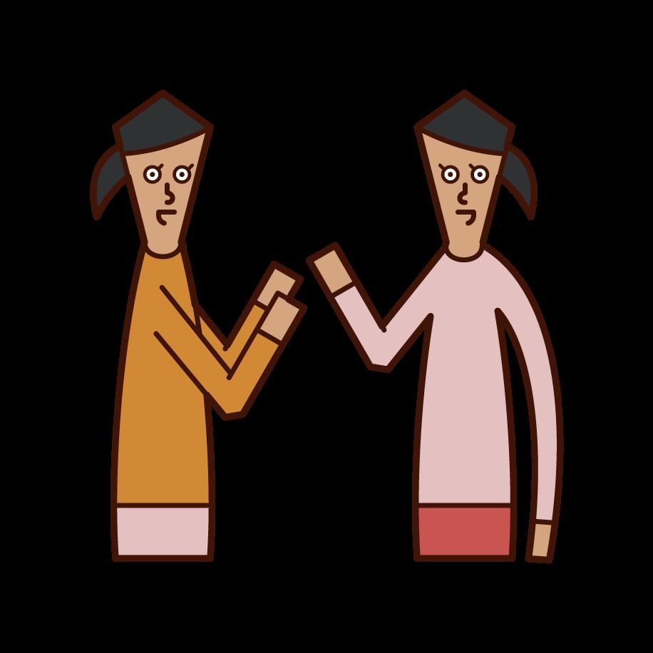 Illustration of people (women) having conversations