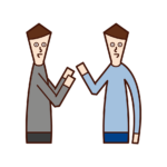Illustration of people (men) having conversations