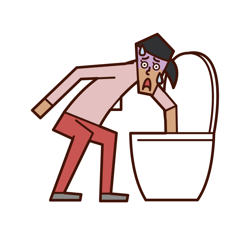 Illustration of a woman who dropped something in the toilet