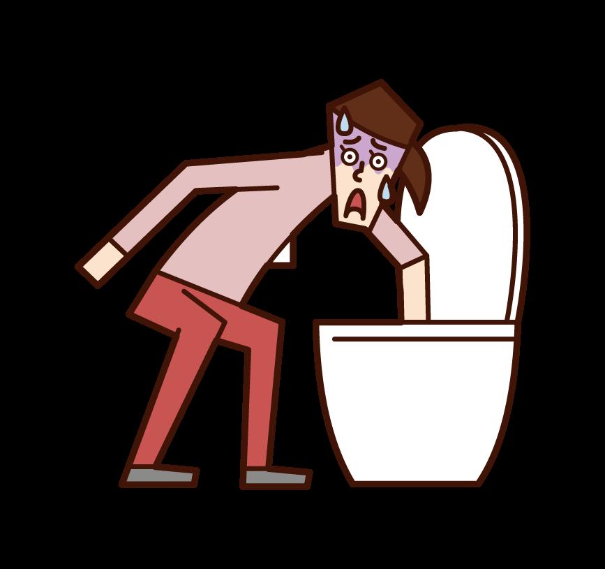 화장실에서 물건을 떨어뜨린 사람(여성)의 일러스트