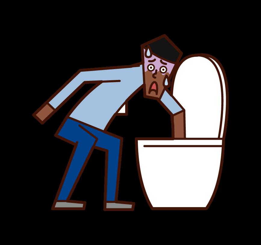 화장실에서 물건을 만드는 사람 (남성)의 일러스트