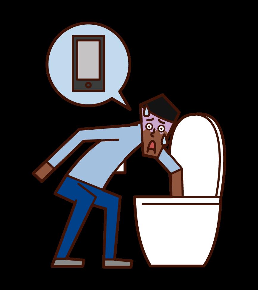 把智慧手機掉進廁所的人(男性)的插圖