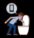 화장실에 스마트폰을 떨어이던 사람(남성)의 일러스트