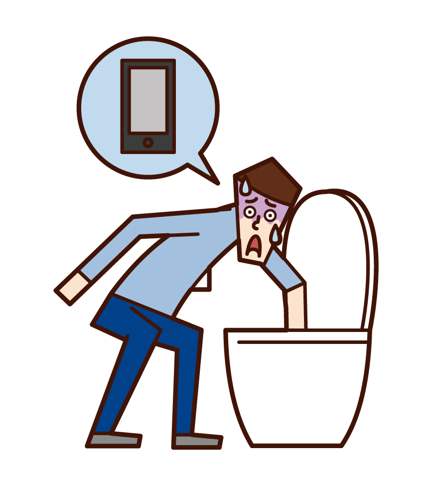 Illustration of a man who dropped his smartphone in the toilet