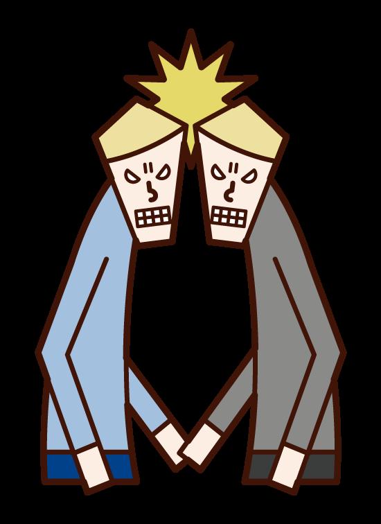 睨み合う人たち(男性)のイラスト