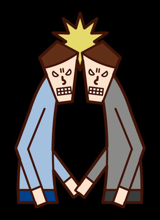 頭突きをする人(男性)のイラスト