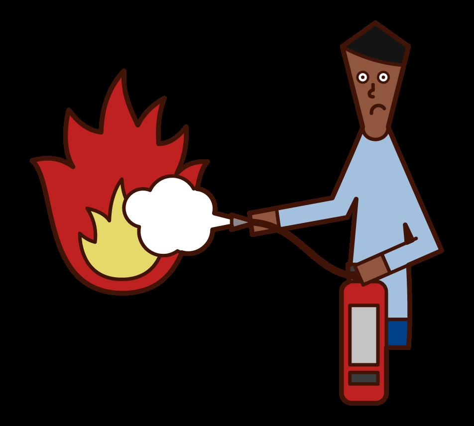 用消化器滅火的人(男性)的插圖