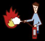 소화기로 불을 끄고 있는 사람(남성)의 일러스트