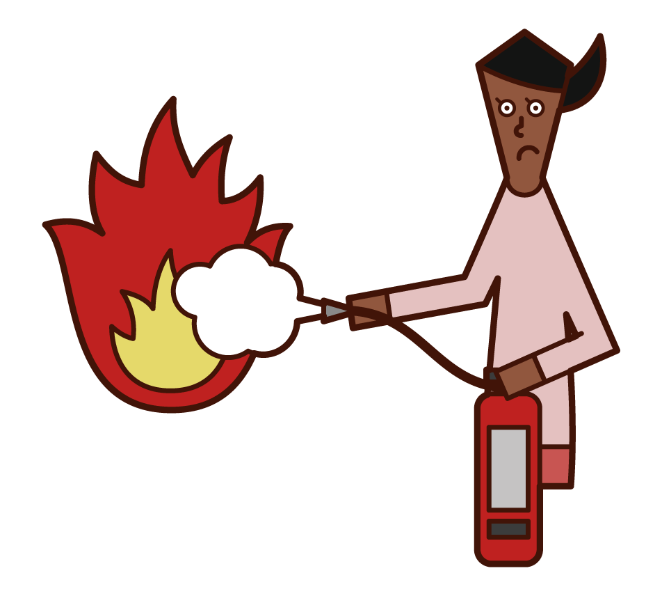 Illustration of a woman extinguishing a fire with a digestive system