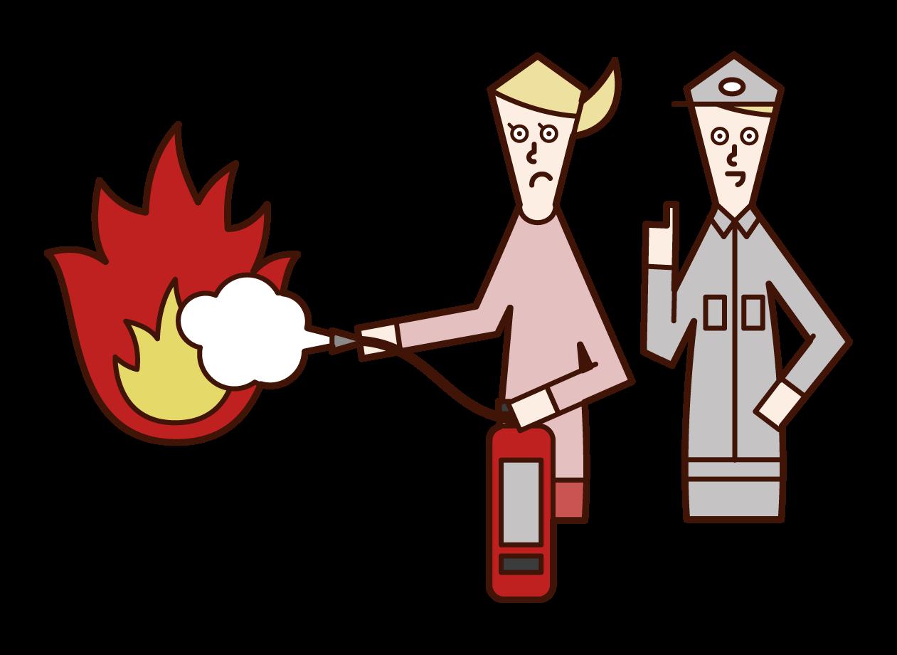 소방 훈련 요원 (여성) 일러스트