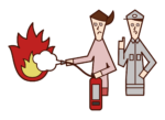 Illustration of a person (woman) who conducts fire drills