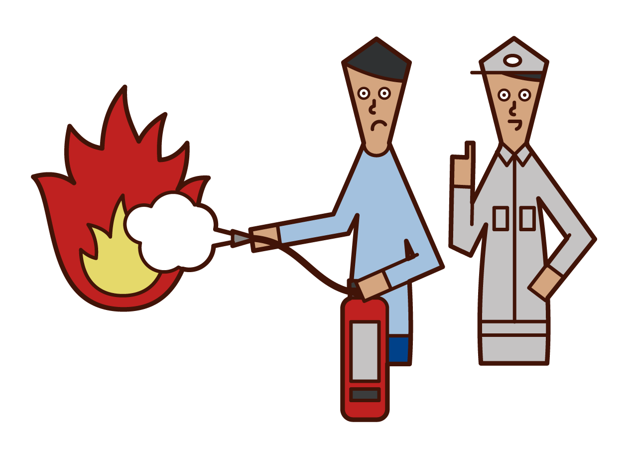 Illustration of a man training to extinguish a fire