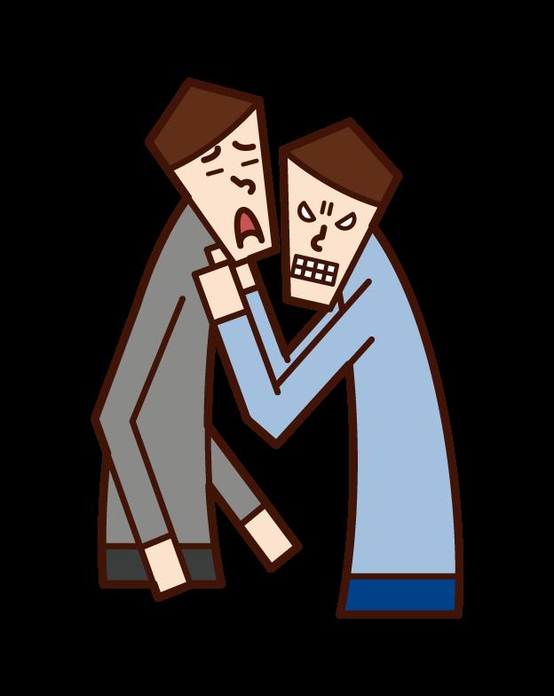 威脅、騷擾和威脅者(男性)的插圖