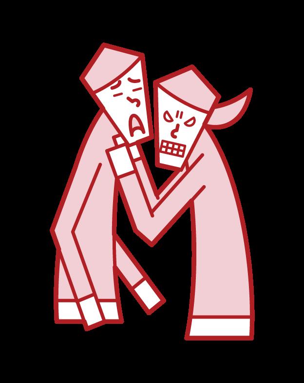 威脅、騷擾和威脅者(女性)的插圖