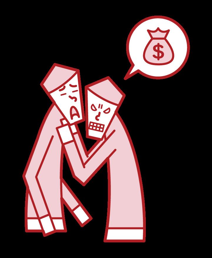 脅迫・カツアゲ・脅す人(男性)のイラスト