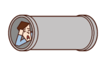토관에서 자고있는 사람 (남성)의 그림