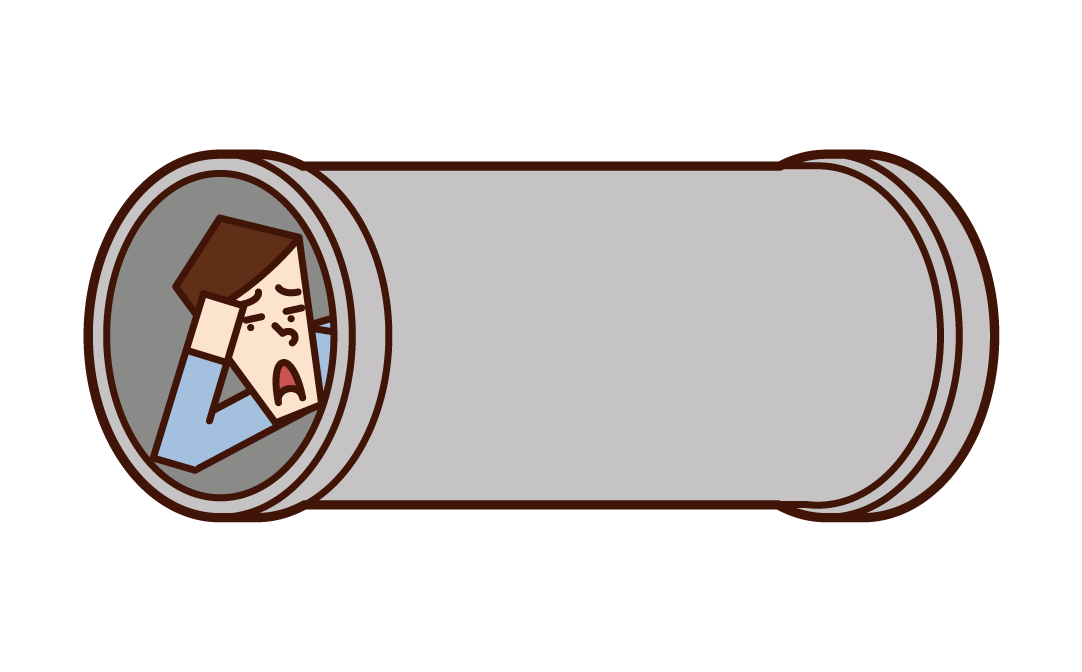 Illustration of a man sleeping in a earthen pipe