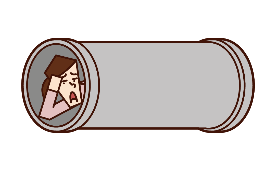 Illustration of a woman sleeping in a earthen pipe