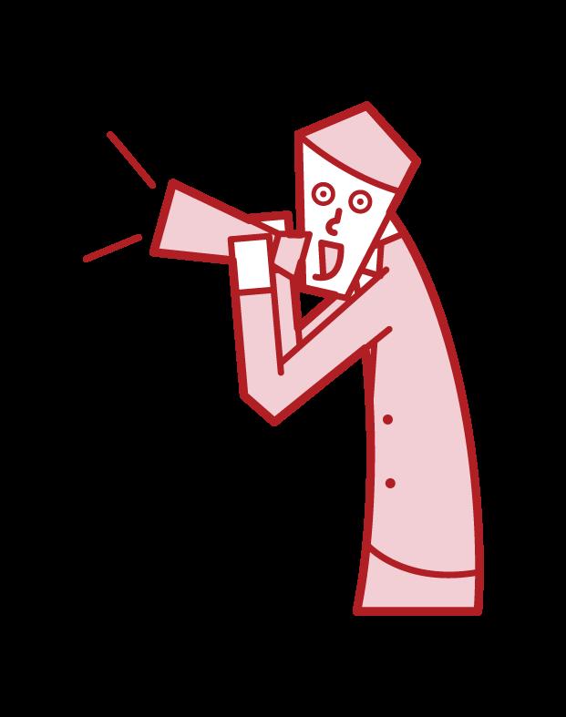 メガホンで叫ぶ人・応援をする人(男性)のイラスト
