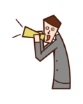 Illustration of a man shouting and cheering with a megaphone
