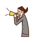 Illustration of a woman shouting and cheering with a megaphone