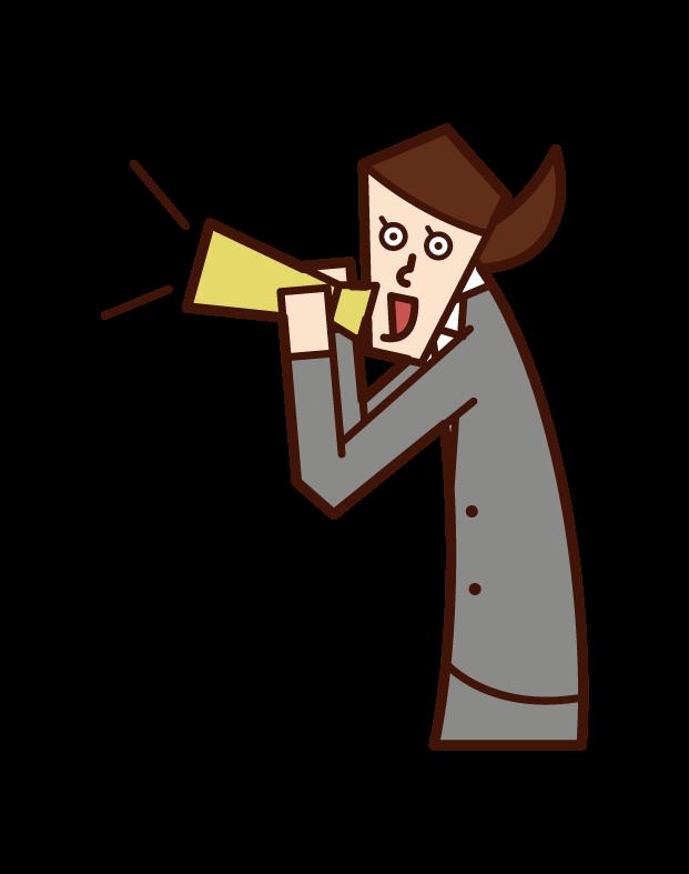 用擴音器喊叫的人和歡呼的人(女性)的插圖