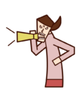 Illustration of a woman who pays attention with a megaphone