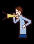 확성기를 사용하여 경고하는 사람 (남성)의 그림
