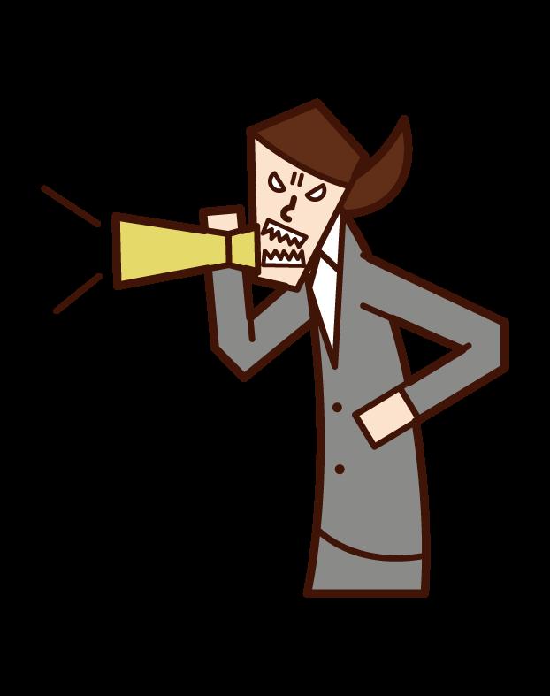 用擴音器警告的人(女性)的插圖