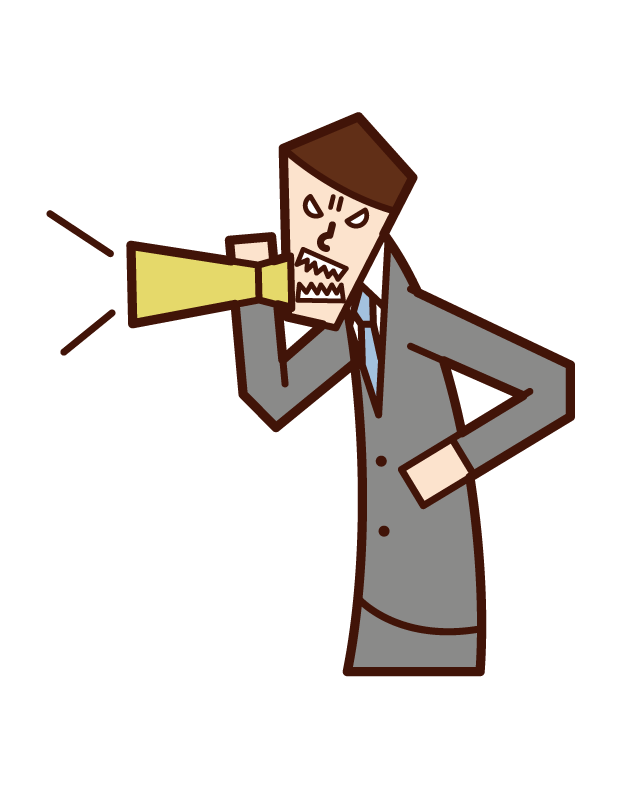 用擴音器警告的人(男性)的插圖
