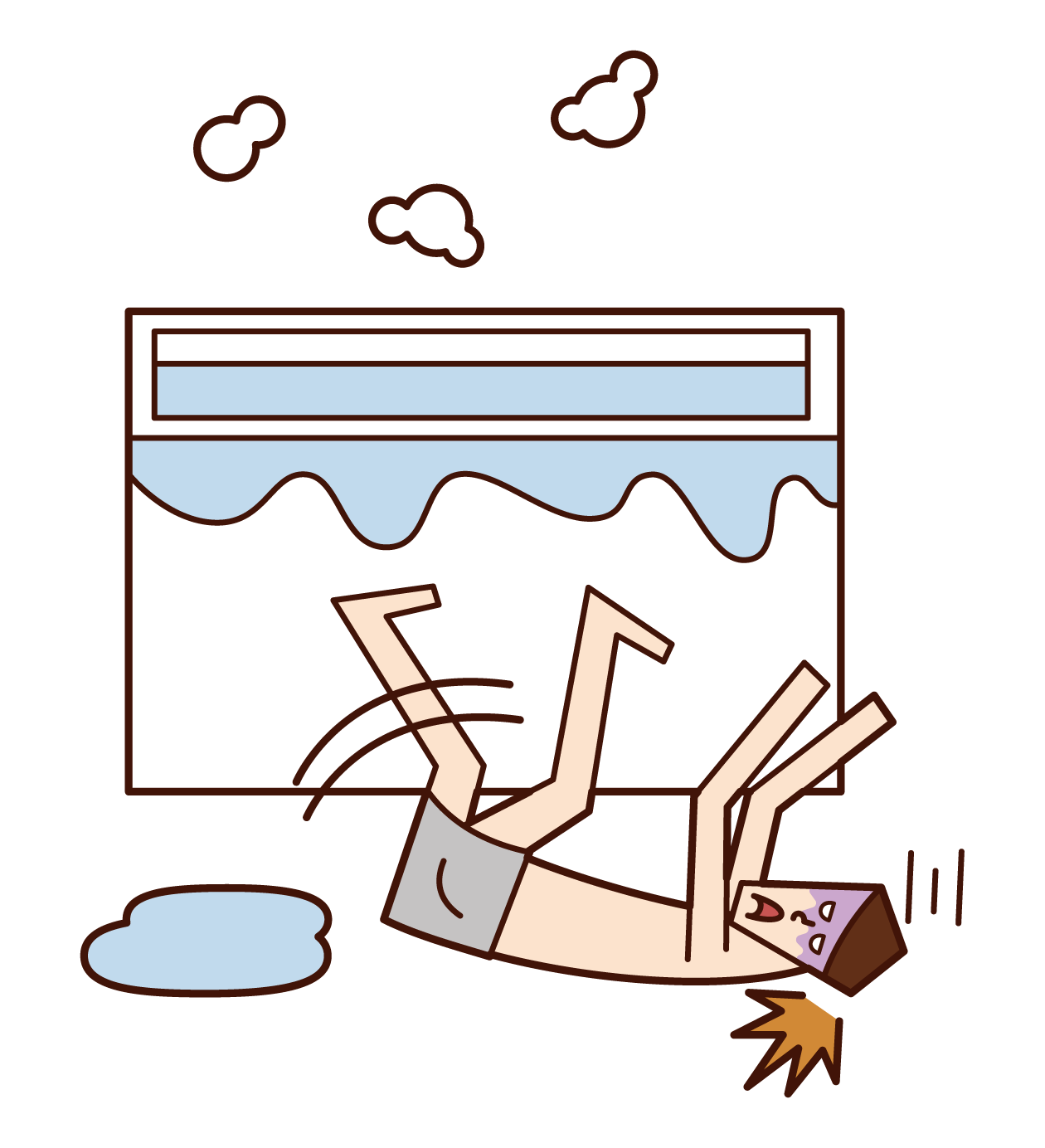 風呂場で転倒する人(男性)のイラスト