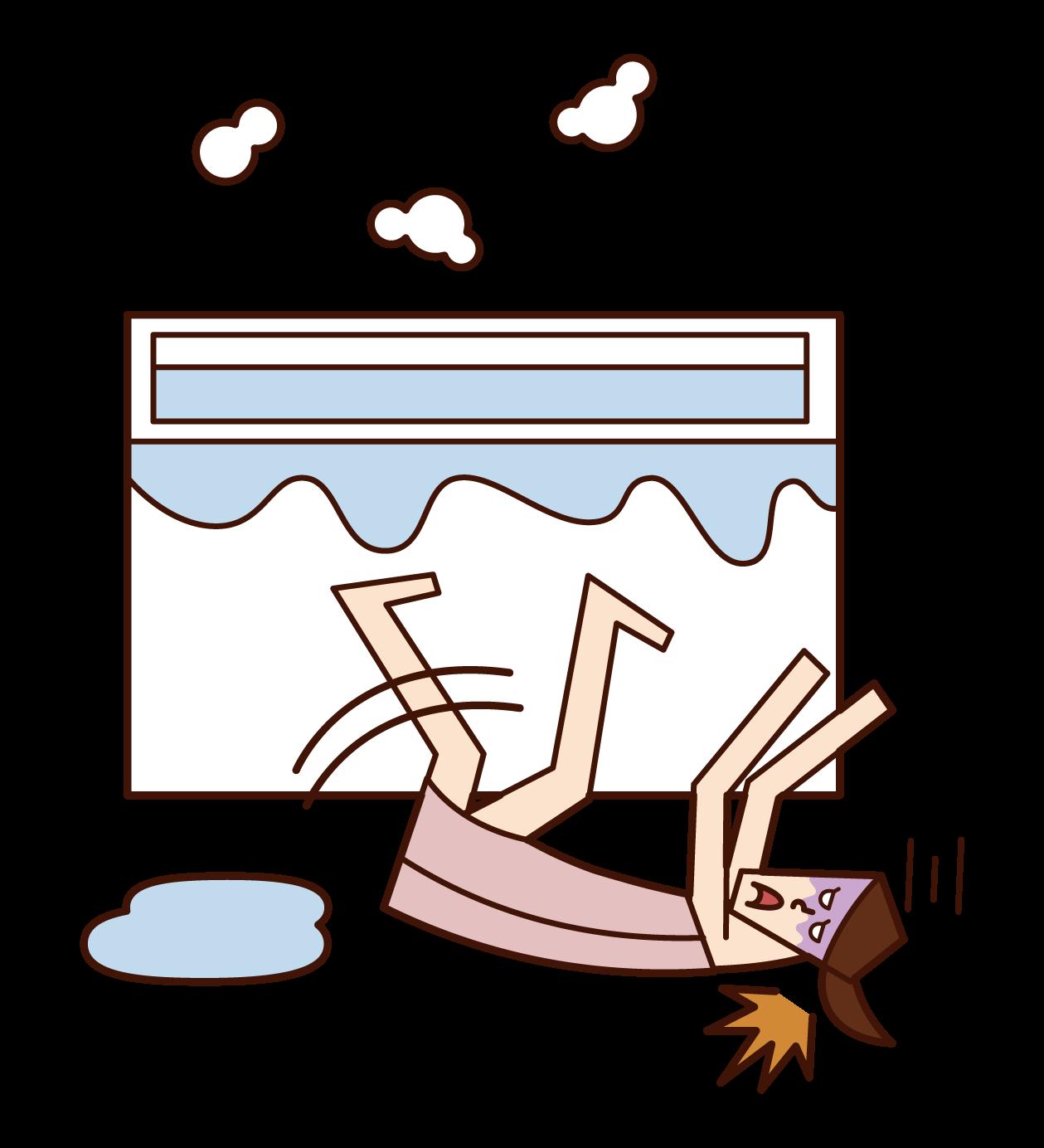 風呂場で転倒する人(女性)のイラスト