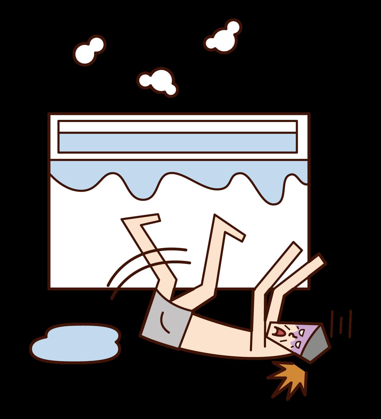 風呂場で転倒する人(おじいさん)のイラスト