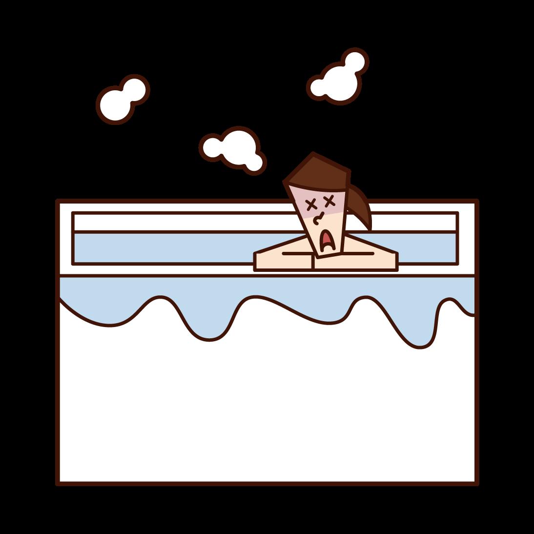 お風呂でのぼせる人(女性)のイラスト