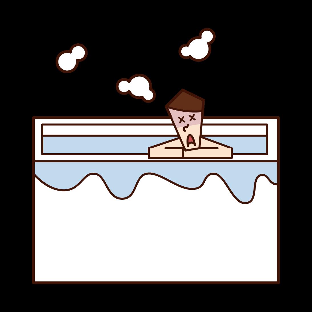 욕조에서 기절한 사람(남성)의 일러스트