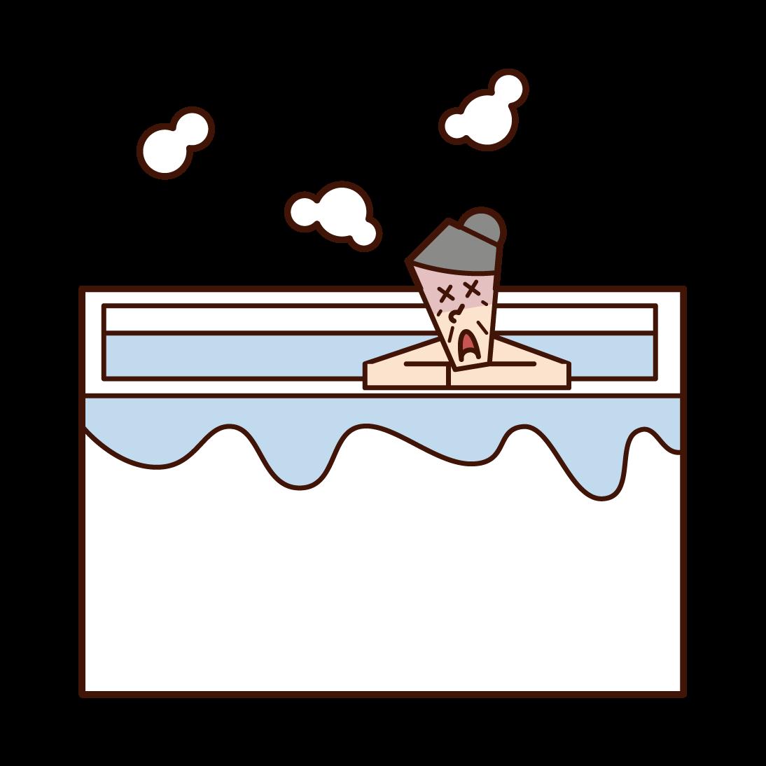 在浴缸裡昏昏不著的人(祖母)的插圖