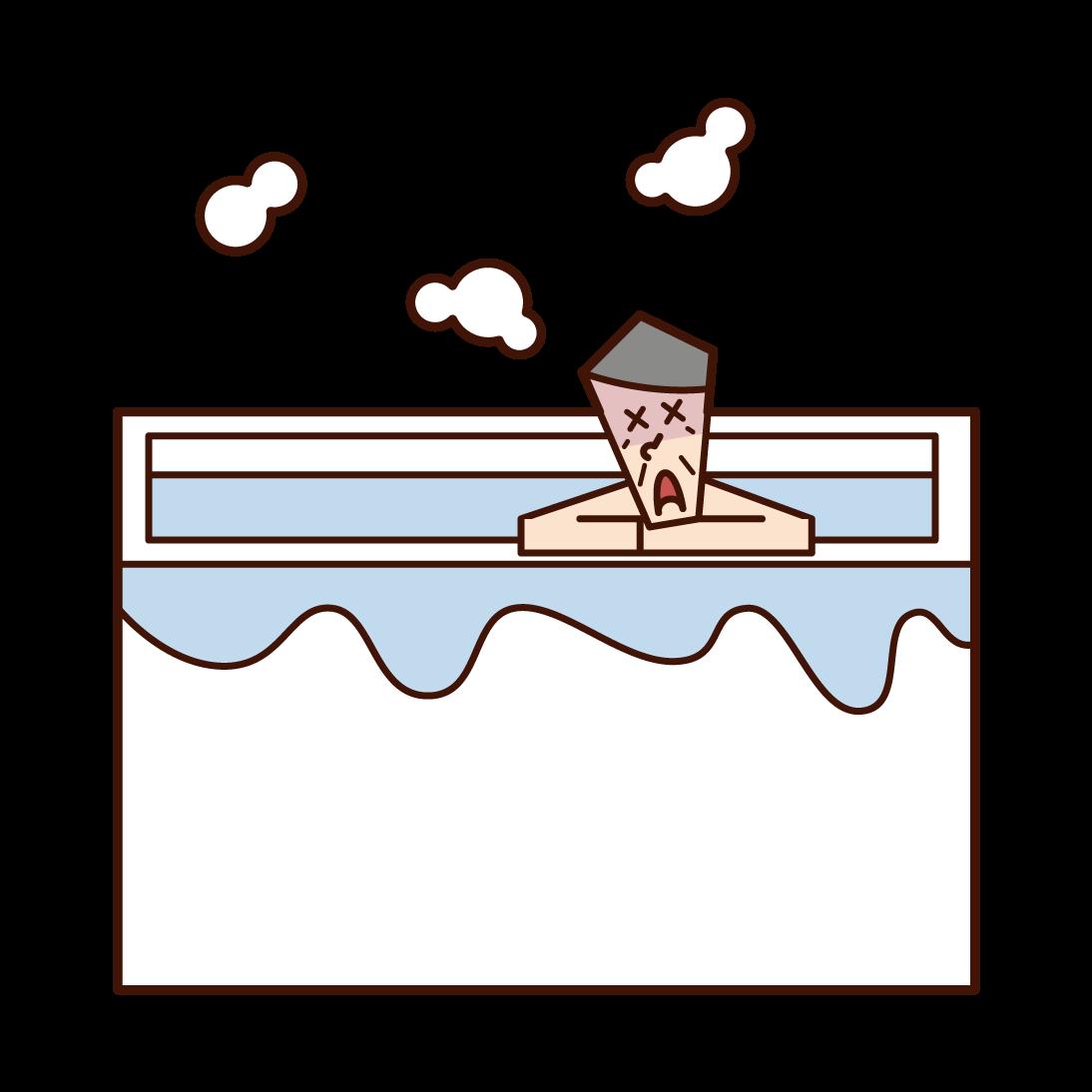 在浴缸裡昏昏不著的人(爺爺)的插圖