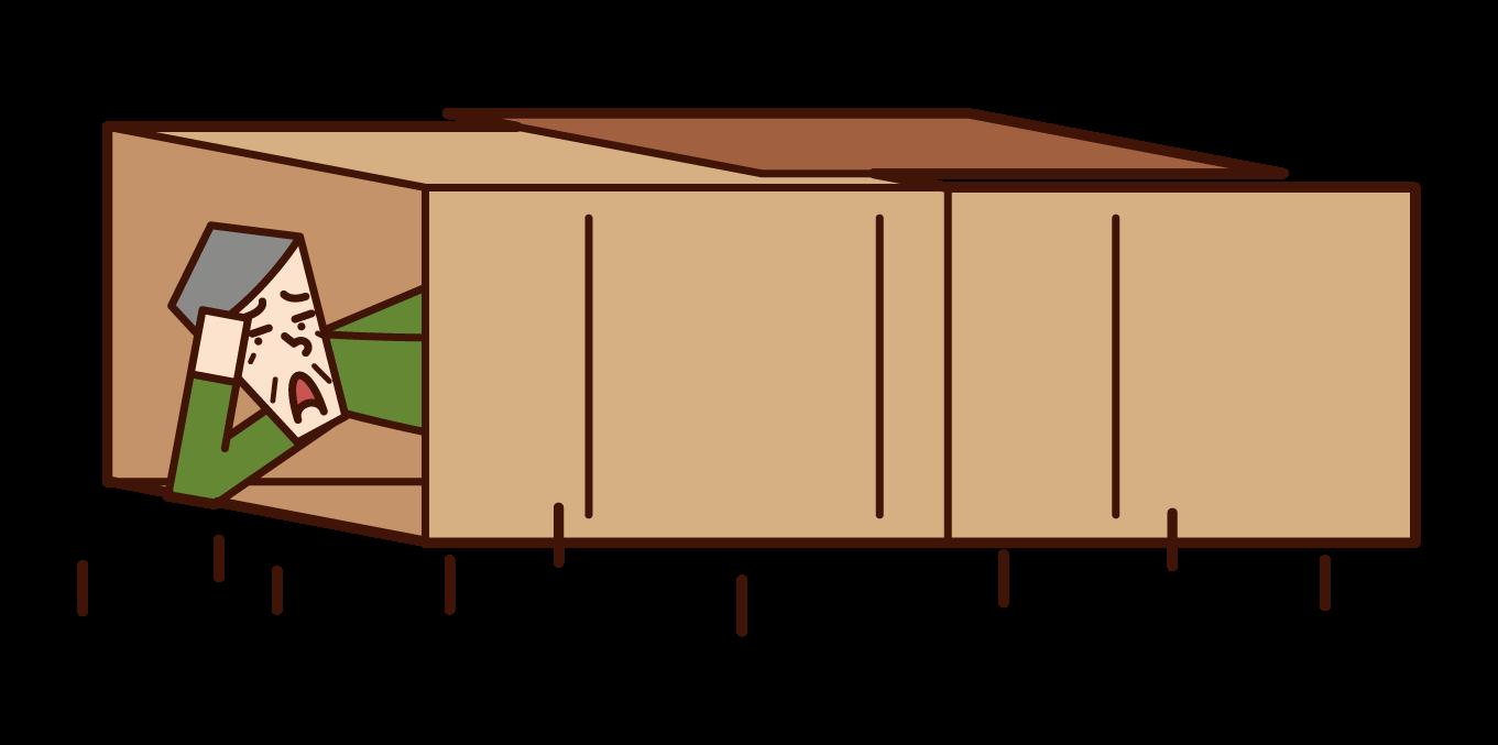 Illustration of homeless (old man)