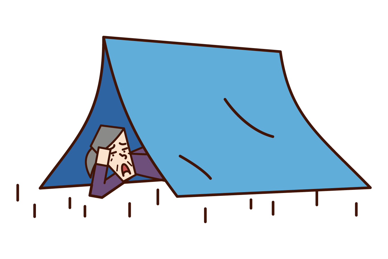 Illustration of homeless (grandmother)