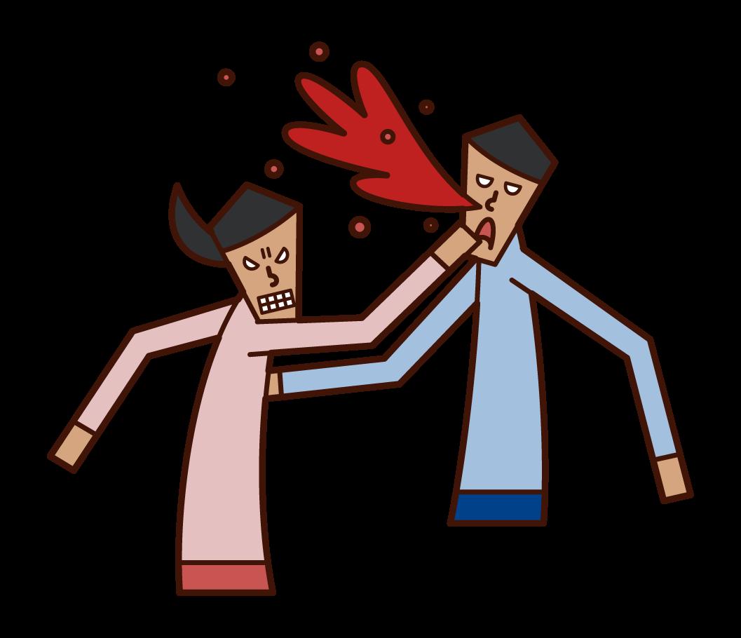 Illustration of a violent person (woman)