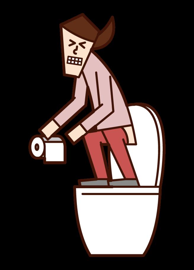 トイレの便座に立って用を足す人(女性)のイラスト