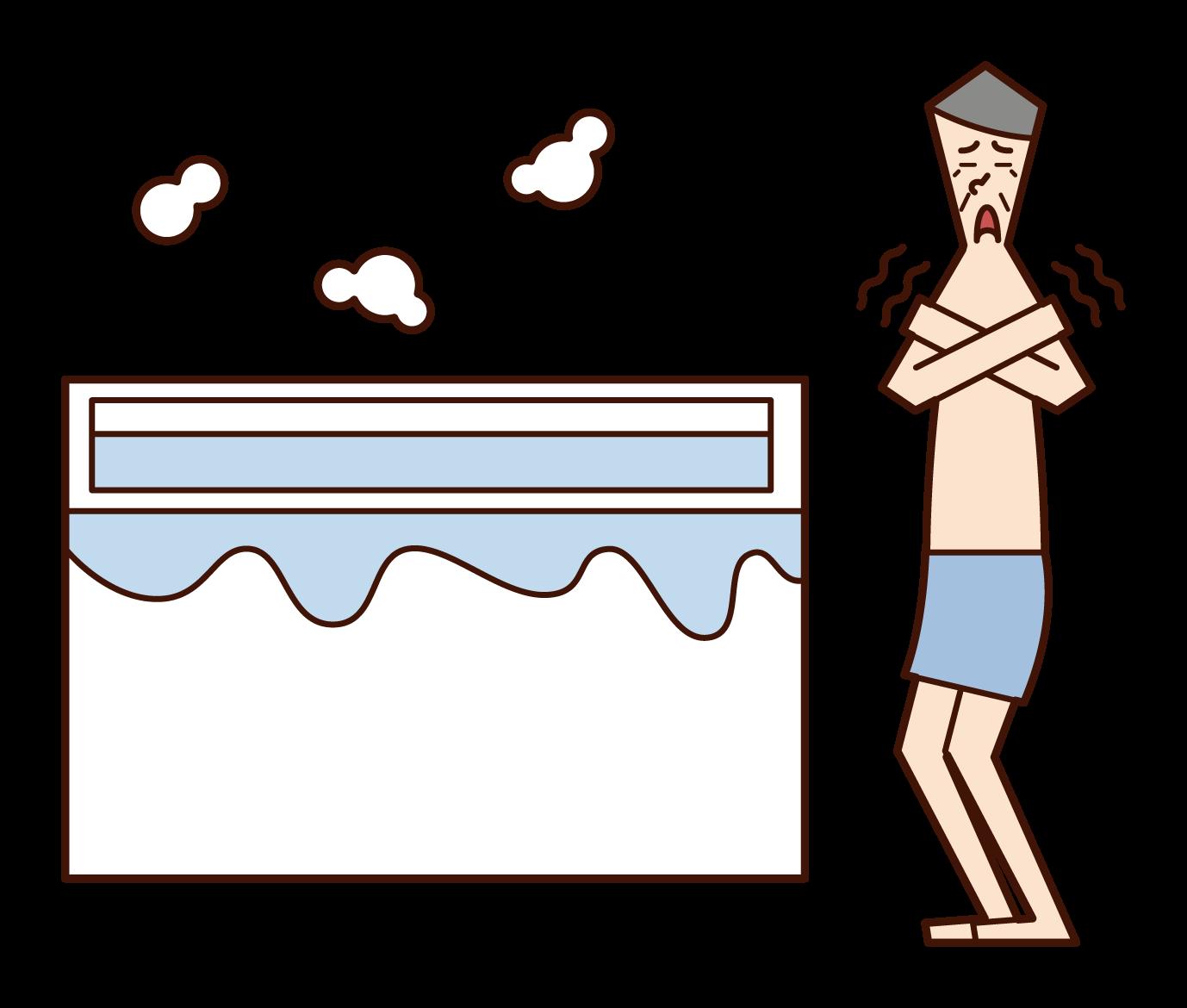 寒冷的浴室(爺爺)的插圖