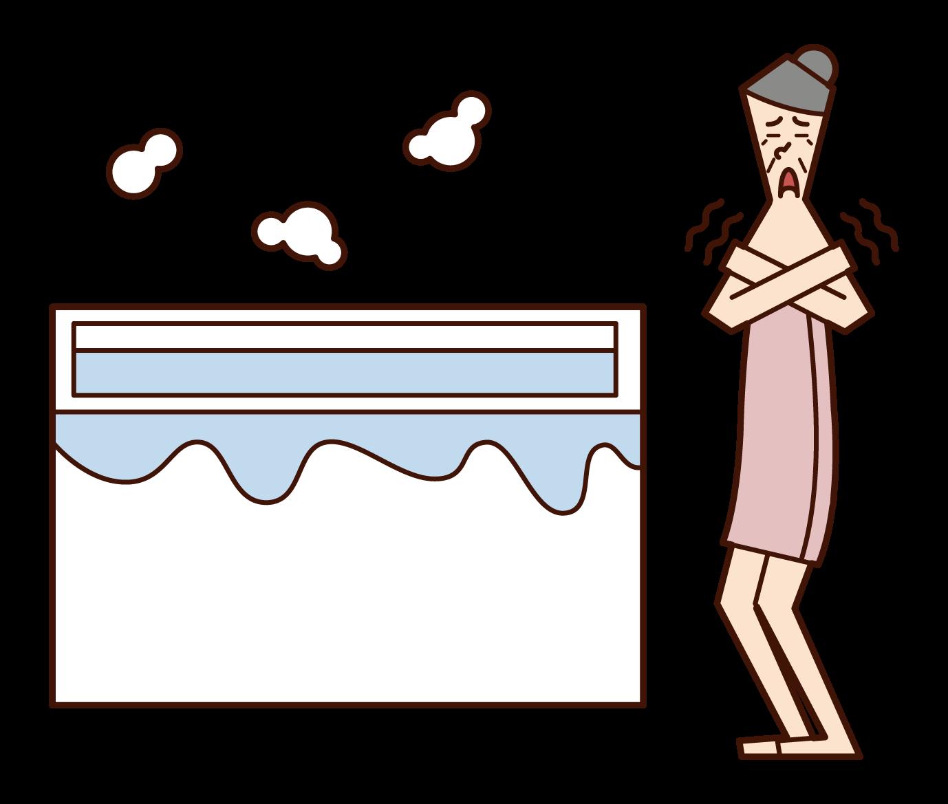 寒冷的浴室(祖母)插圖