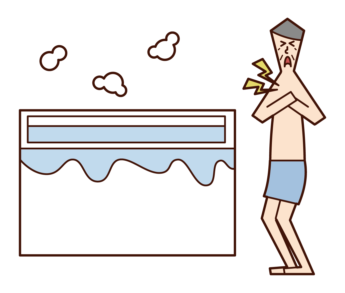 Illustration of heat shock and accident in the bathroom (old man)